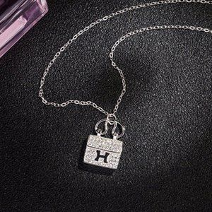 *NEW 925 Sterling Silver Diamond H Letter Necklace